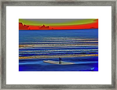 Beach Walking At Sunrise Framed Print