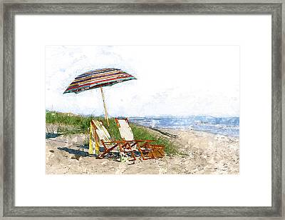Beach Water Color Umbrella Chairs  Dune And The Ocean  Framed Print by Elaine Plesser