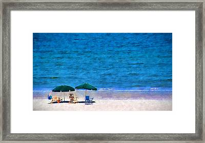 Beach Watercolor Framed Print by Dave Bosse