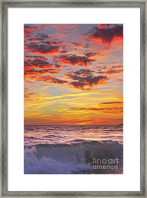 Beach Waves At Sunset In Gale Beach Framed Print