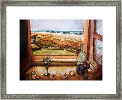 Beach Window Framed Print