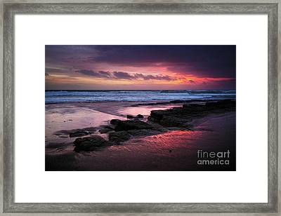 Beach Winter Sunset 1 Framed Print by Carlos Caetano