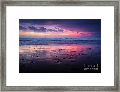 Beach Winter Sunset 2 Framed Print by Carlos Caetano