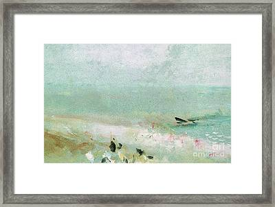 Beach With Figures And A Jetty Framed Print