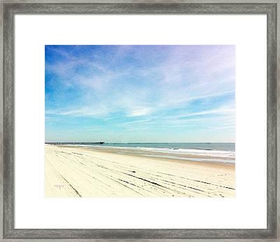 Beach With Pier Framed Print
