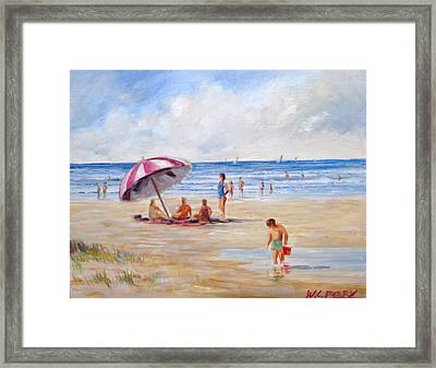 Beach With Umbrella Framed Print