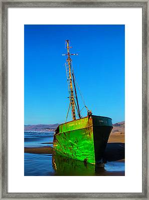 Beached Abandoned Boat Framed Print by Garry Gay
