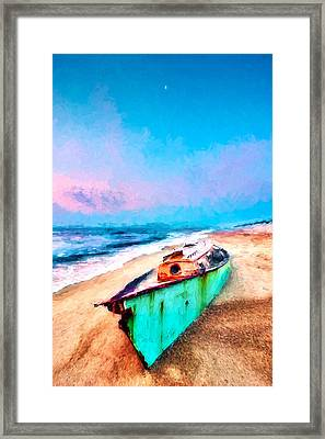 Beached Boat And Moon On Outer Banks Ap Framed Print by Dan Carmichael