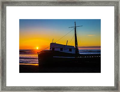 Beached Boat At Sunset Framed Print by Garry Gay