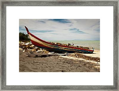 Beached Fishing Boat Framed Print
