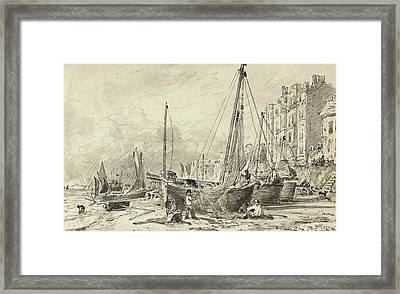 Beached Fishing Boats With Fishermen Mending Nets On The Beach At Brighton, Looking West Framed Print