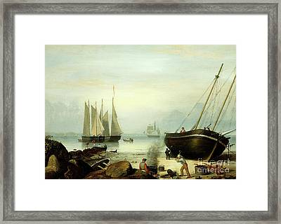 Beached For Repairs, Duncan's Point, Gloucester, 1848 Framed Print