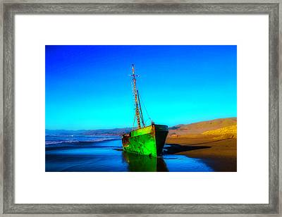 Beached Old Green Fishing Boat Framed Print by Garry Gay