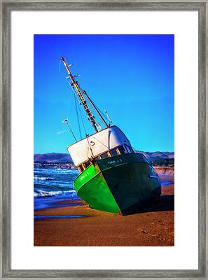Beached Verna Fishing Boat Framed Print by Garry Gay