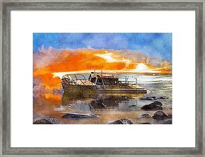 Beached Wreck Framed Print