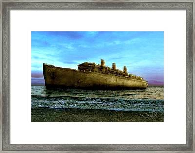 Beached Wreck Framed Print by Tom Straub
