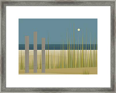 Beaches - Fence Framed Print by Val Arie