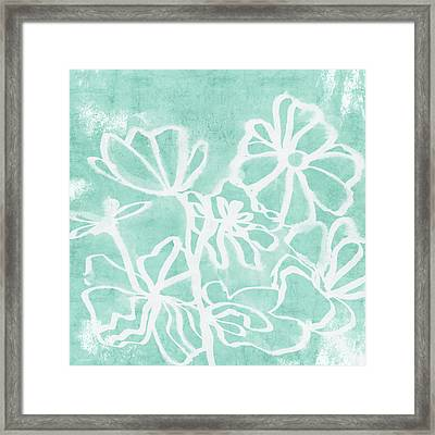 Framed Print featuring the mixed media Beachglass And White Flowers 2- Art By Linda Woods by Linda Woods