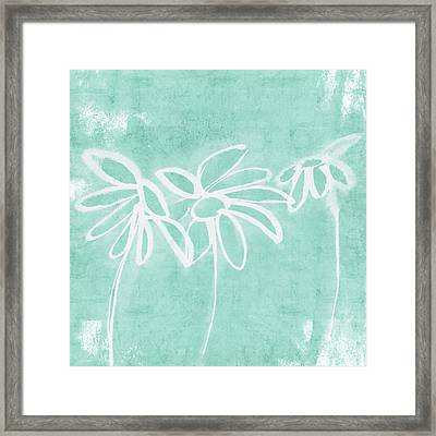 Framed Print featuring the mixed media Beachglass And White Flowers 3- Art By Linda Woods by Linda Woods