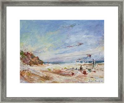 Beachy Day - Impressionist Painting - Original Contemporary Framed Print