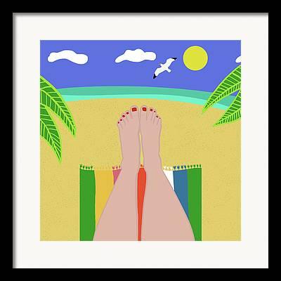 Sunbathing Framed Prints
