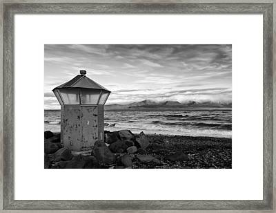 Beacon At Hvaleyrarviti In Iceland Bw Framed Print by Andres Leon