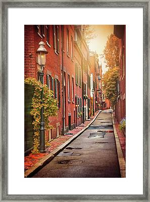Beacon Hill Area Of Boston  Framed Print
