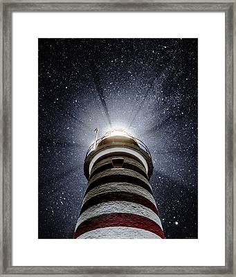 Beacon In The Night West Quoddy Head Lighthouse Framed Print