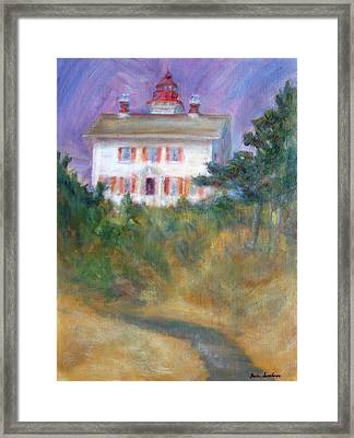 Beacon On The Hill - Lighthouse Painting Framed Print by Quin Sweetman