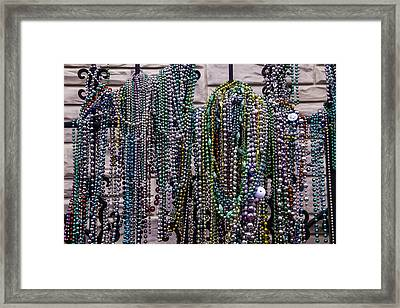 Beads On Iron Wrought Fench Framed Print by Garry Gay