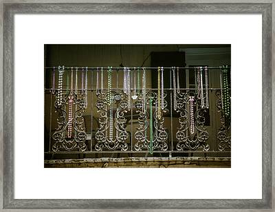 Beads On Wrought Iron Rail Framed Print by Garry Gay
