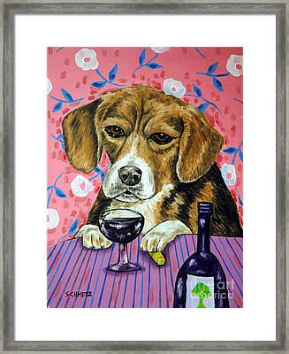 beagle at the Wine Bar Framed Print by Jay  Schmetz