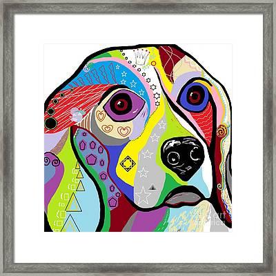 Beagle Close-up Framed Print by Eloise Schneider