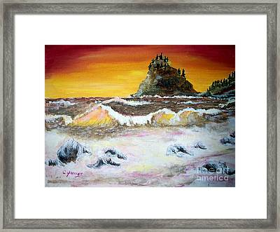 Framed Print featuring the painting Beaitiful Breakers by Carol Grimes