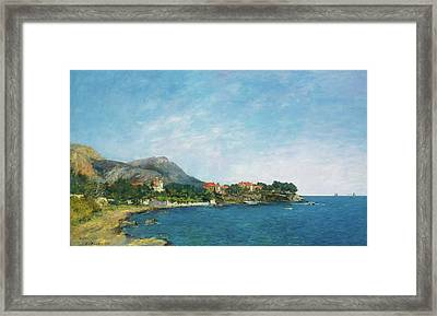 Framed Print featuring the painting Bealieu - The Bay Of Fourmis by Eugene Boudin