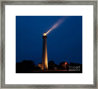 Framed Print featuring the photograph Beam Of Light At Cape May by Nick Zelinsky