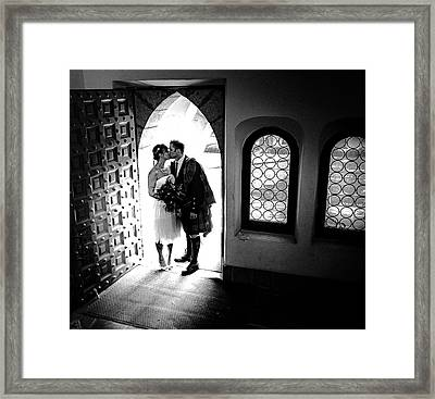 Beaming Newlyweds Framed Print