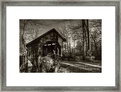 Bean Blossom Bridge Sepia Tone Framed Print by Mel Steinhauer