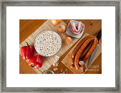 Bean Seeds Soak And Sausage Framed Print by Arletta Cwalina