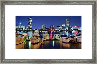Bean Town Boats And Buildings Framed Print by Frozen in Time Fine Art Photography