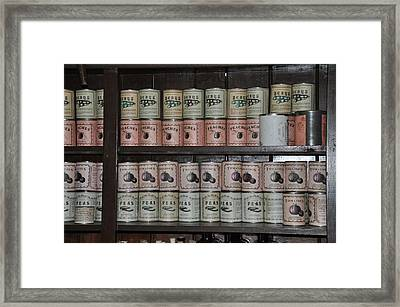 Beans Peaches Tomatoes And Peas Framed Print by Bill Cannon