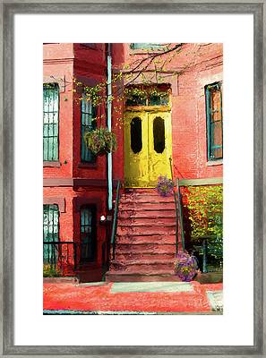 Beantown Brownstone With Yellow Doors Framed Print