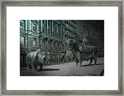 bear and bull Frankfurt Framed Print