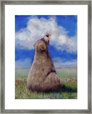 Framed Print featuring the pastel Bear And Butterfly by Billie Colson