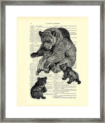 Bear And Cubs Black And White Antique Illustration Framed Print by Madame Memento