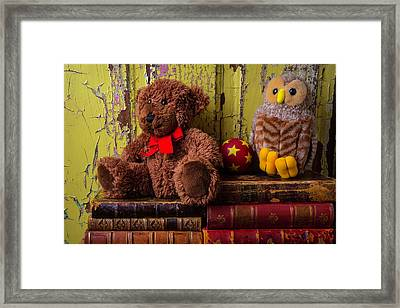 Bear And Owl On Old Books Framed Print by Garry Gay