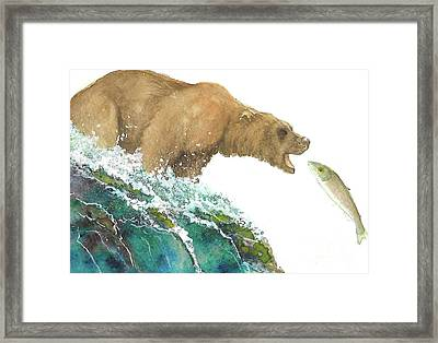 Bear And Salmon Framed Print by Tracey Hunnewell
