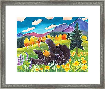 Bear And The Butterfly Framed Print