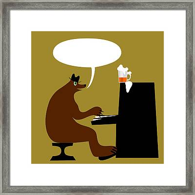 Bear By Piano  Framed Print by Lenka Rottova
