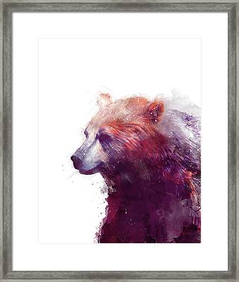 Bear // Calm - Right // White Background Framed Print by Amy Hamilton